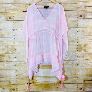 Lane Bryant Top Sheer Pink White Tassels 18/20